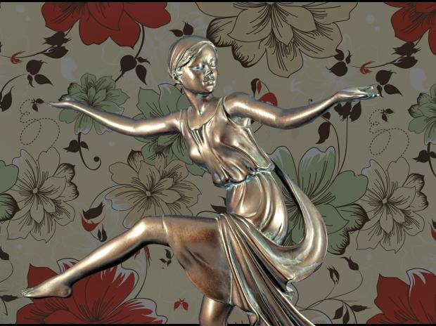 Chroma keying - Art Deco Figurine and background 12