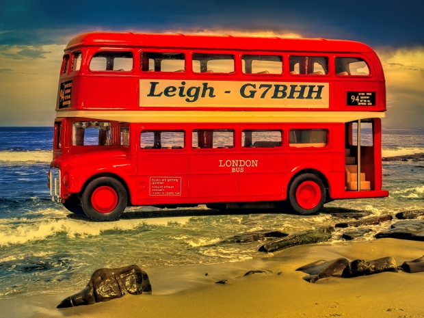Bus on the shore